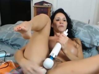 Busty Latina Dildo Fuck Machine