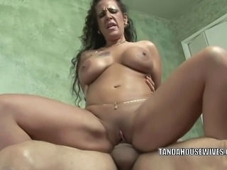 Busty brunette MILF Angelica Lauren is bouncing her mature twat on a stiff cock