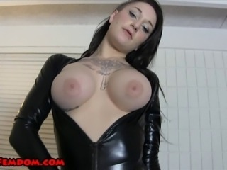 Ashton Vena is wearing a shiny, high cut bodysuit, black pantyhose, and heels.  She knows she looks fucking hot.  She calls you pathetic, and tells you to jerk off and eat your cum for her.