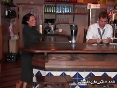 Business woman Asa strips for bartender and spreads herself on his bar