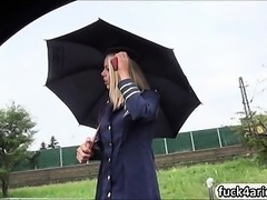 Stewardess Christen Courtney gives sloppy head and pounded