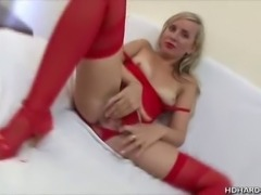 We have this blonde babe in her red lingerie name Lana as she teases us on this clip while she fingers her pussy. Watch as her guy arrives and fingers her as well while Lana sucks his cock!