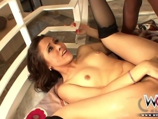 Kristina Rose is a very nice girl. This horny and skinny white slut enjoys getting fucked in the ass by a huge black cock!
