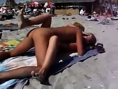 Couple having sex on the nude beach