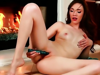Aria Amor with small tits and trimmed twat is on the way to the height of...