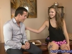 Real bendy stepdaughter gets pussy licked and fingered