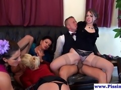 Fetish babes have group sex with a lucky butler and they all drink pee together