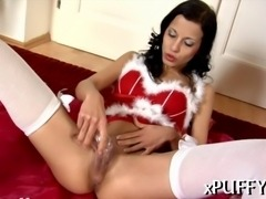 Sweet darling is moaning wildly during dildo shovelling