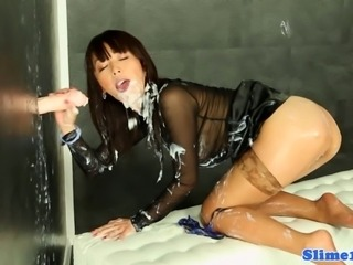 Asian Marcia Hase jizzed all over at the gloryhole