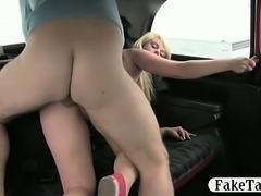 Skanky big boobs customer fucked and facialed by driver