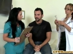 CFNM nurse Mason Moore gets some jizz while fucking patient with pal Mulani...