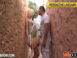 Hot blonde bitch gets fucked on vacation