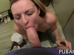 Lovely darling is taming a tough pecker with wet fellatio