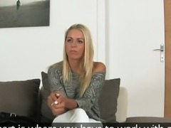 Beautiful amateur blowjob and fuck on casting