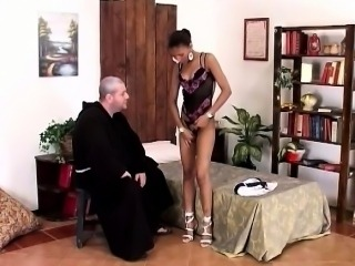 White priest becomes a sinner with this African beauty