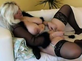 Fat rich granny masturbate with a toy, big boobs