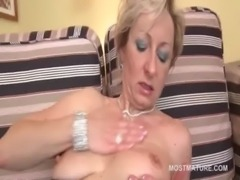 Blonde bitch fucks her mature horny cunt with dildo free