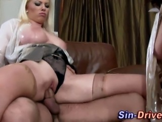 Classy clothed wam slut gets ass slammed in threesome