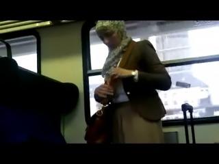 Public train masturbation (flash, no cum)