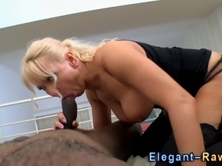 Glamourous blonde sucks and fucks big black cock in hd