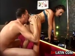 Dirty young latin stripper getting pounded by a customer