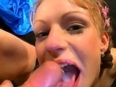 Slut facialized in group swallows