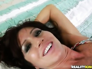 Brunette stunner with trimmed beaver and horny fuck buddy are so fucking...