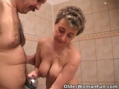 Busty grandma sucks grandpa's tiny cock free