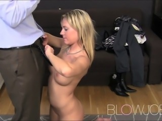 Blonde Bar girl sucks for fun
