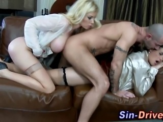 Glam clothed wet and messy ho anally fucked in threesome