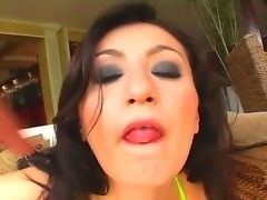 Hot ass hooker Bianca with dark heavy make up and firm hooters in green...