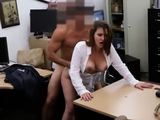 Busty business lady nailed by horny pervert pawnkeeper