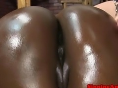 Ebony babe bends over for doggystyle