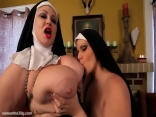 2 Busty BBWS Dress Up As Nuns and Fuck Each Other free