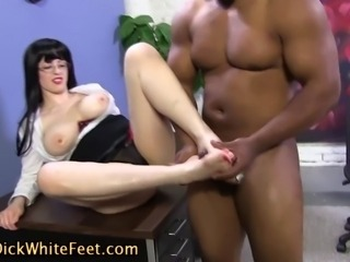 Sexy spex hoes white feet get cumshot from black cock