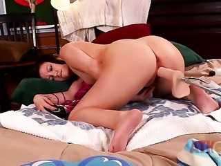 Brunette Brandi Belle with tiny breasts and shaved snatch stripping and...