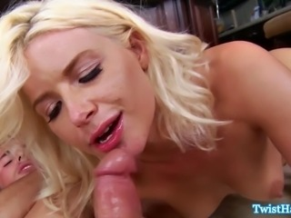Anikka Albrite licking up his cum after pleasing his cock