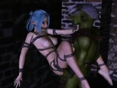 Hot 3D cartoon elf babe gets fucked hard by a goblin