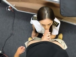 Sexy Latina stewardess pounded by pawnkeeper in the pawnshop