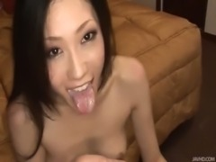 Japanese honey Yui has her pretty face stuffed with meat and jizz free