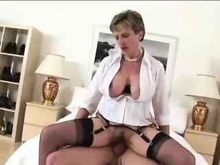 Mature lady milks cock for facial