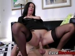 Cock riding stockings clad mature british hoe sucks