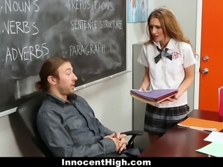Maci Winslett needed to make up some credits.After looking at the buttload of stuff she was being asked to do Maci instead suggested an exchange. Some good head and tight teen pussy for a C in the class. Who can refuse that offer?!