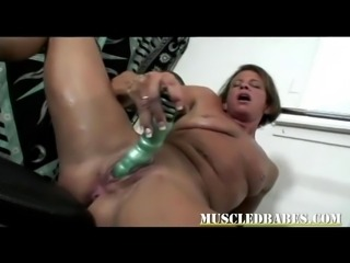 Toy fucking milf after hard workout in this hot video