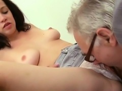 Teacher is getting wet blow job