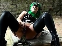 Green Haired Woman Masturbating