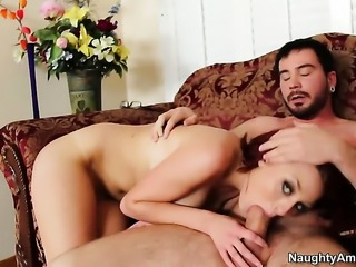 Dane Cross pops out his dick to fuck Jessica Robbin with round butt and trimmed beaver