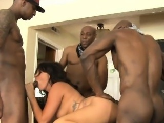 Horny whore Danica Dillion double fucking with black boners