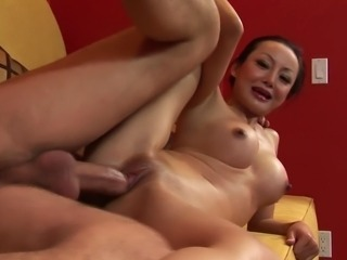 Attractive Japanese babe sucks on her raunchy lover's big hard cock. She has her tender pussy boned hard before having her delicious round booty screwed long and hard.