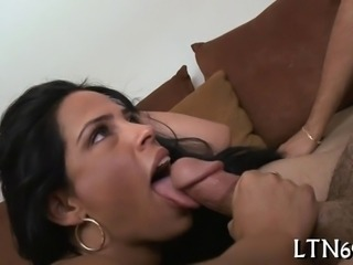 Hunk gets his lusty cock satisfied by a horny babe